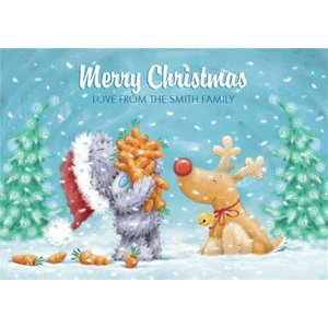 Moonpig Me To You Tatty Teddy Carrots And Reindeer Personalised Christmas Card, Giant Size By Moon Mtu235
