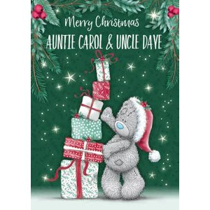 Me To You Tatty Teddy Cute Christmas Card For Auntie And Uncle, Large Size By Moonpig Mtu390 Lg