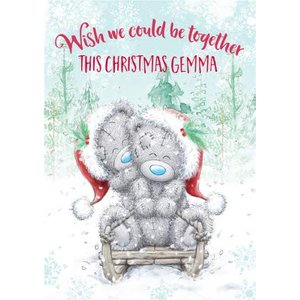 Me To You Tatty Teddy Wish We Could Be Together Christmas Card, Standard Size By Moonpig Mtu445 St