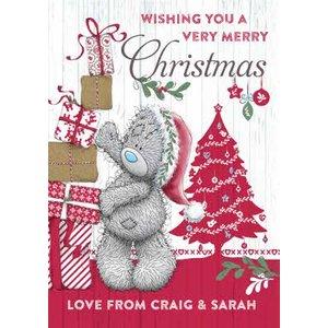 Me To You Tatty Teddy Wishing A Very Merry Christmas Card, Giant Size By Moonpig Mtu023