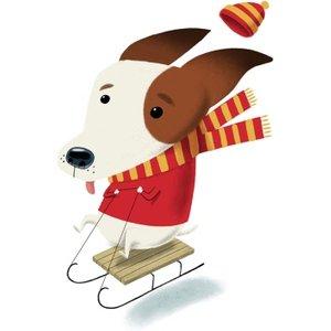 Modern Cute Illustration Dog On Sledge Christmas Card, Giant Size By Moonpig Grc022