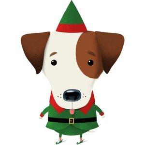 Modern Cute Illustration Elf Dog Christmas Card, Giant Size By Moonpig Grc021