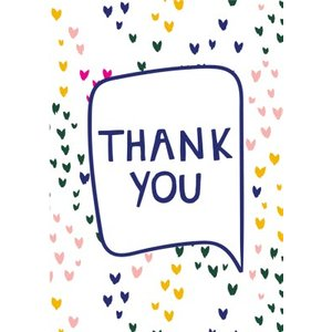 Modern Illustrated Love Hearts Thank You Card, Standard Size By Moonpig Bls008 St