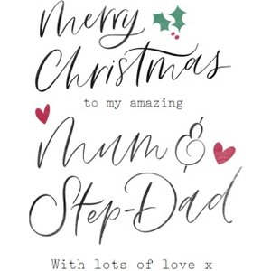 Modern Typographic Mum And Stepdad Christmas Card, Giant Size By Moonpig All038