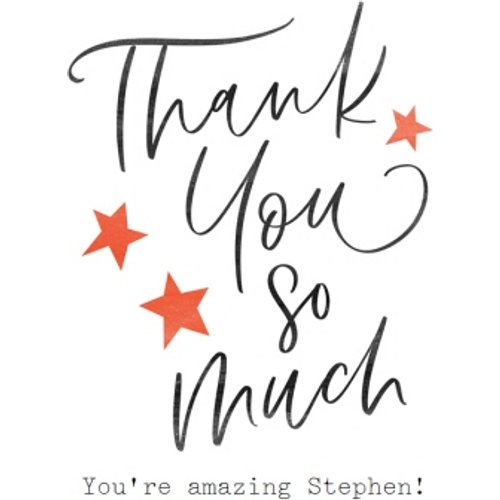Modern Typographic Star Thank You Card, Standard Size By Moonpig All043 St