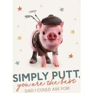 Moonpigs Cute Golfer Pig Simply Putt You Are The Best Card, Giant Size By Moonpig Mpl014