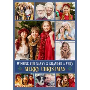 Multiple Photo Upload Christmas Card For Nanny And Grandad, Large Size By Moonpig Pux312 Lg
