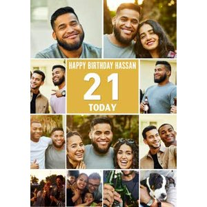 Multiple Photo Upload Happy 21st Birthday Card, Giant Size By Moonpig Pue460