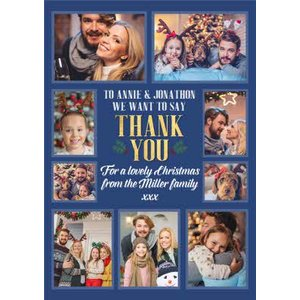 Multiple Photo Upload Thank You Christmas Card, Standard Size By Moonpig Pux348 St