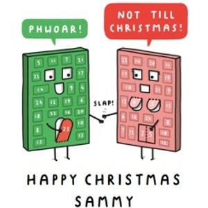 Mungo And Shoddy Cheeky Advent Calendar Christmas Card, Giant Size By Moonpig Mas083