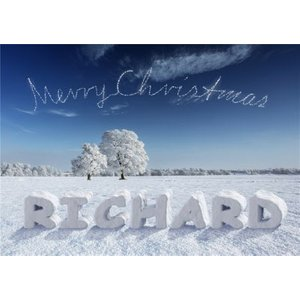 Name In The Snow Personalised Merry Christmas Card, Giant Size By Moonpig Ll1112