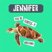 Natural History Museum You're Turtle-y Awesome Birthday Card, Square Card Size By Moonpig Nhm172 Sq Sq