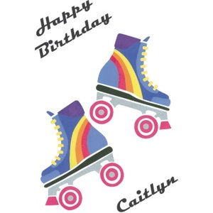 Neon Roller Skates Personalised Happy Birthday Card, Giant Size By Moonpig Rps029