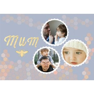 Pastel Honeycomb Pattern Personalised Photo Upload Card For Mum, Giant Size By Moonpig Bee069