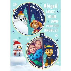 Paw Patrol Make Your Own Bauble Photo Upload Christmas Card, Giant Size By Moonpig Pawp016