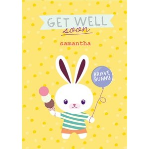 Personalised Cartoon Bunny Get Well Soon Card, Large Size By Moonpig Ppaf006 Lg