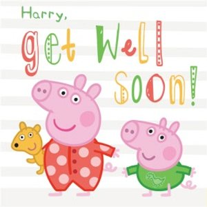 Personalised Peppa Pig Get Well Soon Card, Large Square Card Size By Moonpig Pep081 Lg