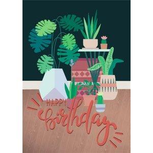 Plant Illustration Happy Birthday Card, Large Size By Moonpig Caj005 Lg