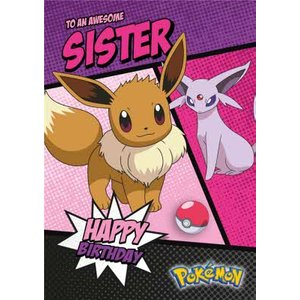 Pokemon Eevee And Espeon Awesome Sister Birthday Card, Standard Size By Moonpig Pkm010 St