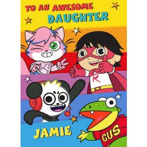 Ryan's World Awesome Daughter Birthday Card, Standard Size By Moonpig Ryw004 St