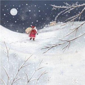 Santa Walking Through The Snow Christmas Card, Square Card Size By Moonpig Sylk007 Sq