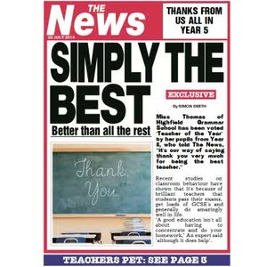 Simply The Best Teacher's Pet Newspaper Headline Personalised Card, Giant Size By Moonpig Tn154