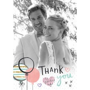 Moonpig Sketched Balloons And Hearts Personalised Photo Upload Wedding Day Thank You Card, Large S Lday047 Lg