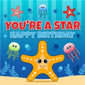 Moonpig Starfish Character You're A Star Children's Birthday Card, Large Square Card Size By Moonp Rom009 Sq Lg
