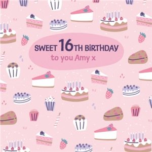 Sweet 16th Birthday Wishes Cake Card , Large Square Size By Moonpig Idf011 Sq Lg