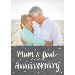 Sweet Sentiments Mum Dad Anniversary Photo Upload Card, Standard Size By Moonpig Swt014 St