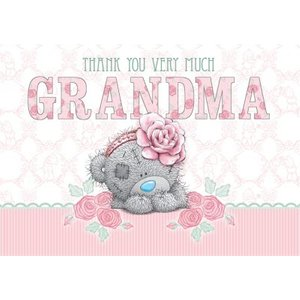 Tatty Teddy With Pink Flower Band Personalised Thank You Card, Large Size By Moonpig Mtu037 Lg