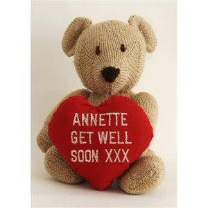Moonpig Teddy Bear With Heart And Name Stitched On Personalised Get Well Soon Card, Standard Size  Ll329 St