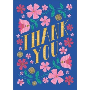 Thank You Colourful Floral Card, Standard Size By Moonpig Na046 St