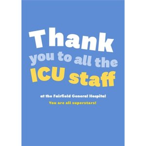 Thank You To All The Icu Staff Bright Typographic Card, Standard Size By Moonpig Lak002 St