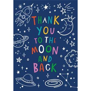 Thank You To The Moon And Back Space Doodle Card, Giant Size By Moonpig Dtbl015