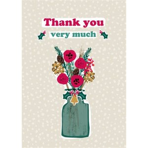 Thank You Very Much Vase And Flowers Christmas Card, Giant Size By Moonpig Sgr013