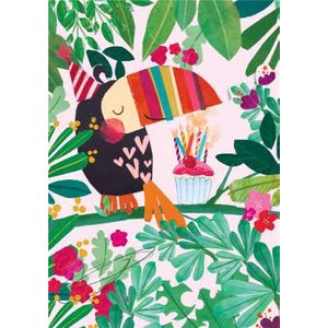 Toucan In Jungle With Cupcake Illustration Birthday Card, Large Size By Moonpig Aba079 Lg