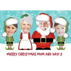 Trading Faces Santa & Family Christmas Card, Standard Size By Moonpig Mv252 St