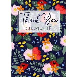 Traditional Illustrated Floral Thank You Card, Giant Size By Moonpig Ppa001
