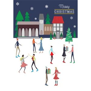 Traditional Illustrated People Ice Skating Christmas Card, Giant Size By Moonpig Ldl005