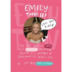 Turning 18 Photo Upload Birthday Card, Standard Size By Moonpig Thn038 St
