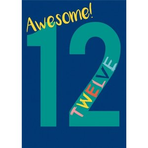 Typographic Awesome 12 Birthday Card, Giant Size By Moonpig Aba106