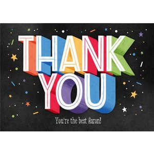 Typographic Chalkboard Star Confetti Thank You Card, Giant Size By Moonpig Dsty087