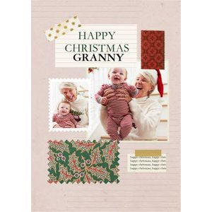 Moonpig V&a Fashion And Textiles Collection Floral Happy Christmas Photo Upload Card, Standard Siz Vaa021 St