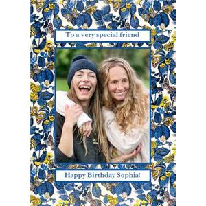Moonpig V&a Fashion And Textiles Collection Traditional Floral Special Friend Photo Upload Card, S Vaa020 St