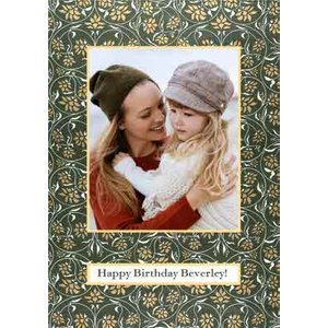 Moonpig V&a Fashion And Textiles Collection Traditional Floral Happy Birthday Photo Upload Card, S Vaa013 St
