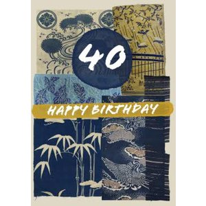 V&a Floral East Asia Kimono Pattern 40th Birthday Card, Standard Size By Moonpig Vaa006 St