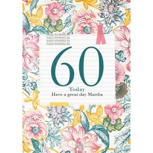 V&a Floral Pattern 60th Birthday Card, Large Size By Moonpig Vaa010 Lg