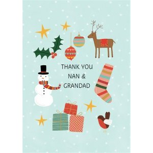 Various Christmas Icons Thank You Card For Nanny & Grandad, Large Size By Moonpig Je674 Lg