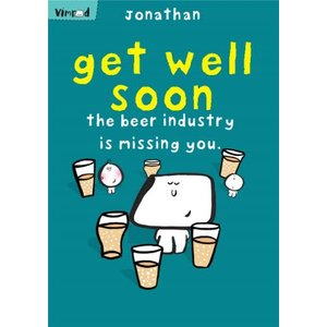 Moonpig Vimrod The Beer Industry Card Is Missing You Personalised Get Well Soon Card, Standard Siz Vm101 St